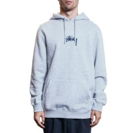 Stussy Худи Stussy Logo Embroidered Hoodie серый
