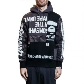 Aape by A Bathing Ape Худи Aape by A Bathing Ape Mixed Patchwork серый