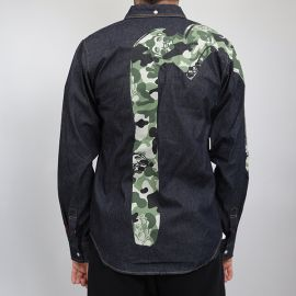 Evisu рубашка Evisu camo green denim